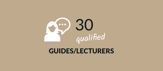 30 qualified guides/lecturers